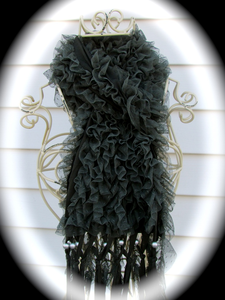 Dark Grey Ruffle scarf with pearls  $25 LuckyONeJewelry FB Page Web-site comming soon