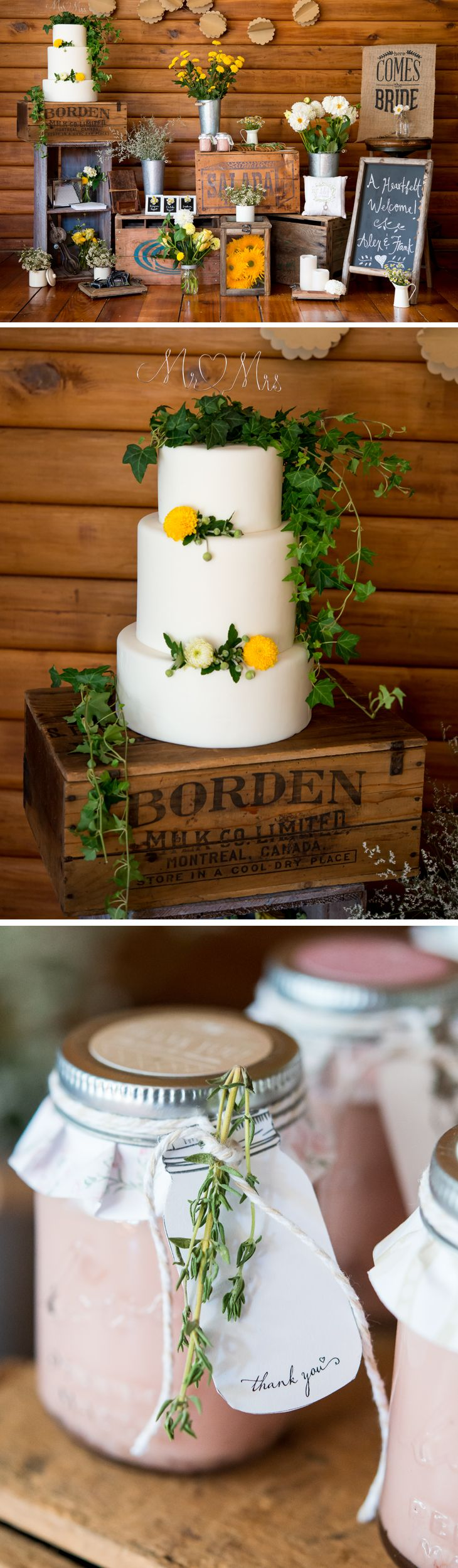 This Rustic Charm wedding theme is warm and inviting and can be incorporated throughout the wedding decor, wedding cake, and guest favors. This look will never go out of style. Color palette consists of a bold blend of freshly picked greens and natural browns with pops of white and yellow.