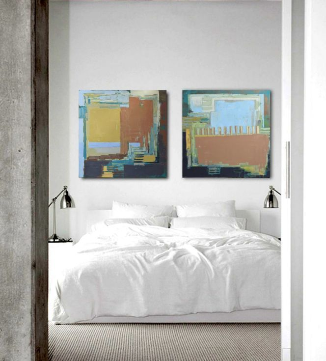 "Buy Diptych ""Abstract landscape VII"". Oil painting on cotton canvas. Size 2 x 27,6/27,6 inches ( 2 x 70/70cm) 140/70 cm, Oil painting by Karina Antończak on Artfinder. Discover thousands of other original paintings, prints, sculptures and photography from independent artists."