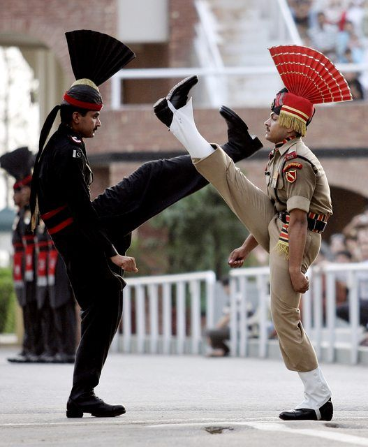 Pakistani | Indian border guards during their border-closing ceremony