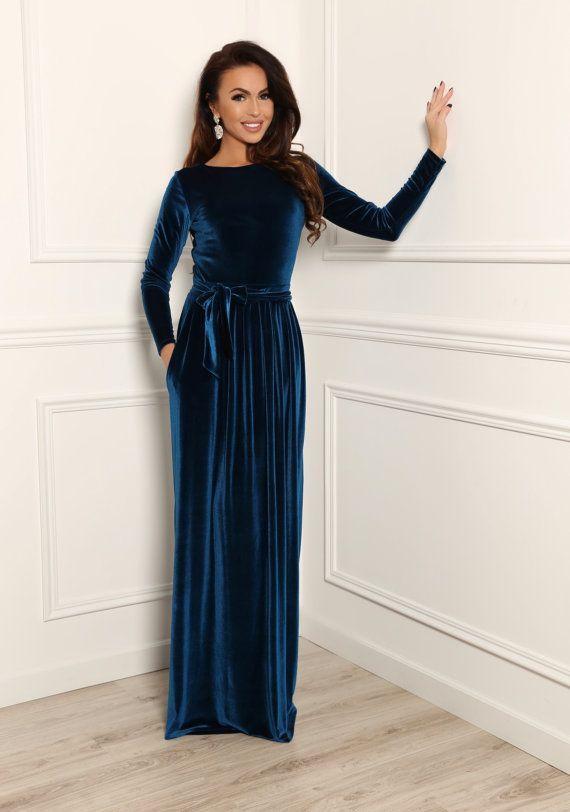 Dunkle Elektrische Samt Maxi Elegantes Kleid Langarm Von Desirvale Desirvale Dunkle Elegantes Elektrische Kleid Langarm Elbise Elbiseler Kiyafet