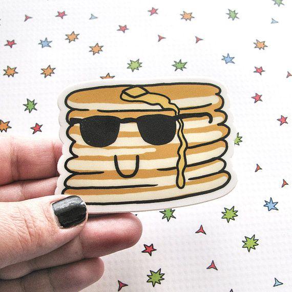 Pancakes Sticker Laptop Sticker Car Sticker by AmberMorganDesigns