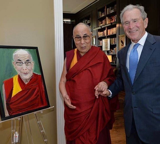 Who knew that evil war lord gw bush would become a gentle retired guy who paints pictures of the Dalai Lama?