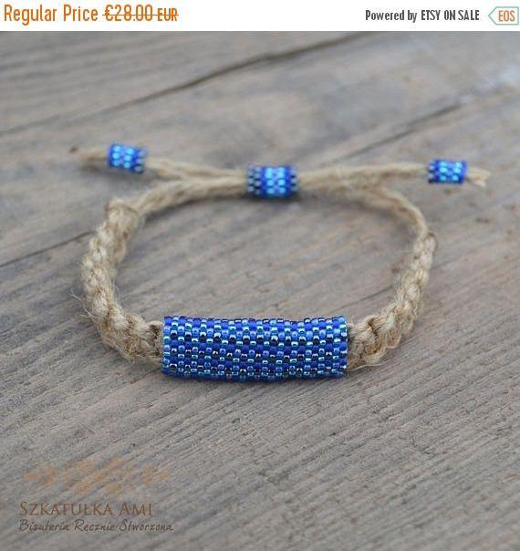 ON SALE Natural Linen men bracelet Ethnic bracelets Shadow #szkatulkaami, #linenbracelet, #unisexbracelet #vegan, #naturalbracelet, #Bluebracelet