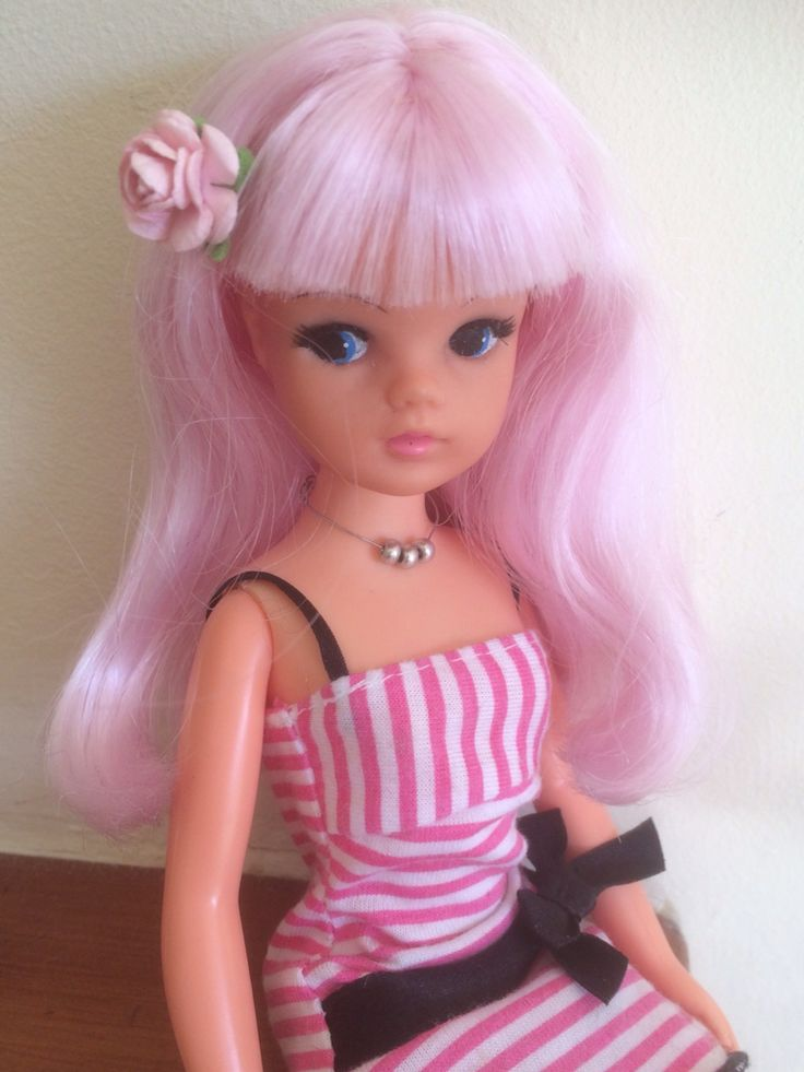 For sale Sindy re rooted with crystal rose poly hair