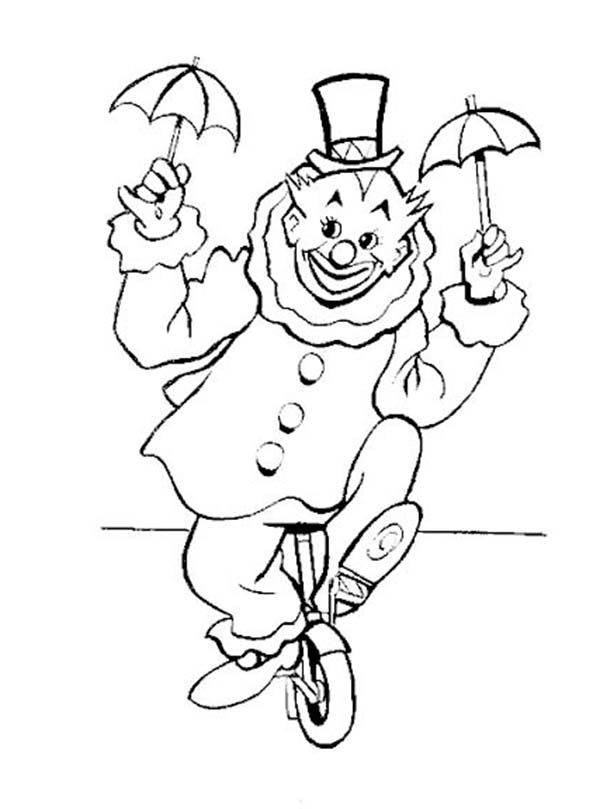 Clown Riding A Unicycle Coloring Page