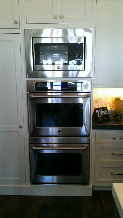 Double oven with microwave on top