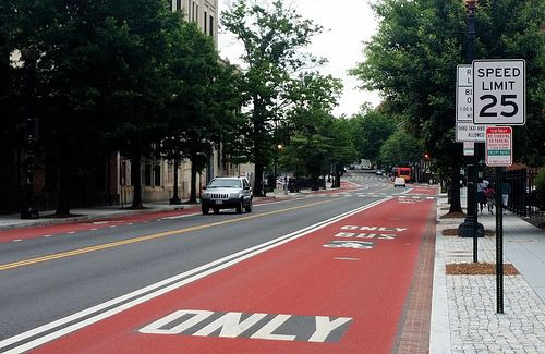 ❤ Georgia Avenue's new red-surface bus lanes - Greater Greater Washington. Near Howard Univesity.