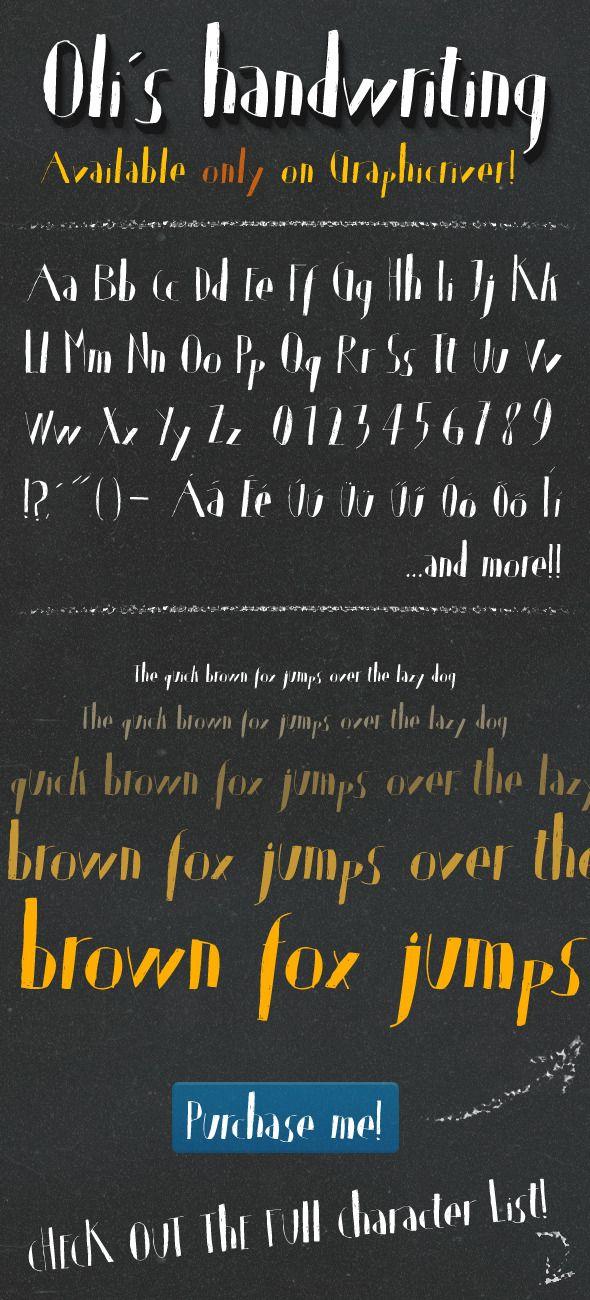 Oli's Handwriting TrueType font — TrueType TTF #typeface #character • Available here → https://graphicriver.net/item/olis-handwriting-truetype-font/3606727?ref=pxcr
