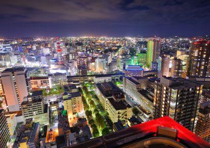 Sendai cityscape by night, Japan.