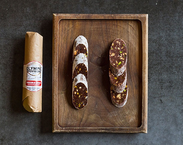 Wow! Saucisson Au Chocolat from Olympic Provisions in Portland. Chocolate Salume made from French ganache, warm baking spices, nuts, candied ginger, and red wine.