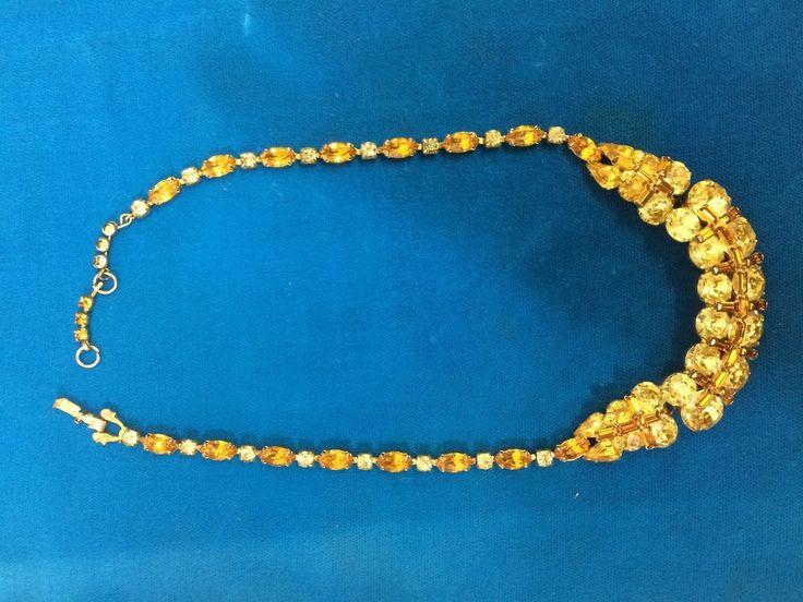 rare  1950 yellow/ amber crystal choker necklace signed Sherman
