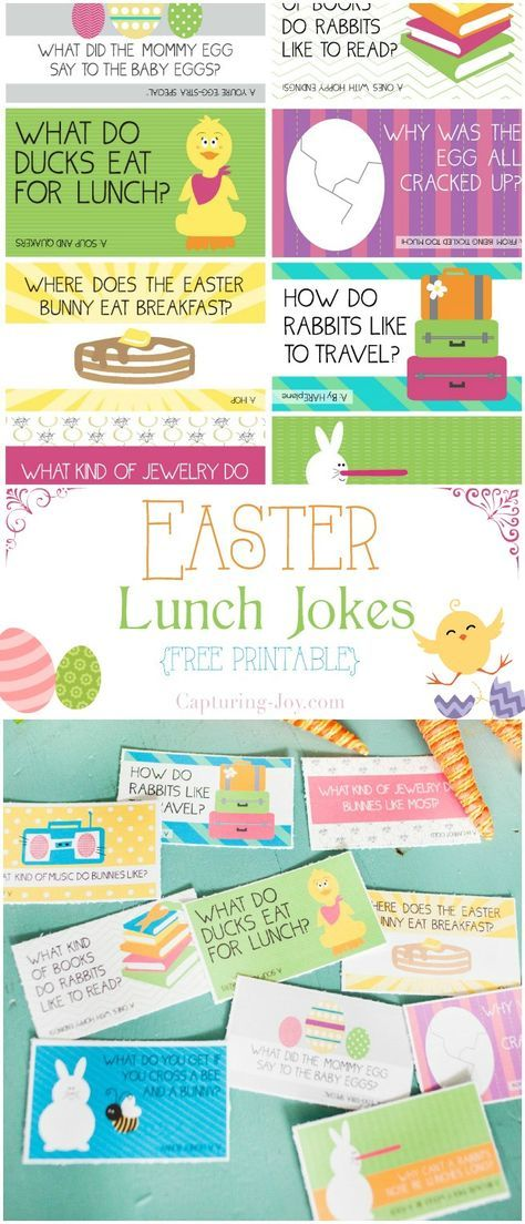 Easter Lunch jokes for your kids lunches!  Free printable!  http://Capturing-Joy.com