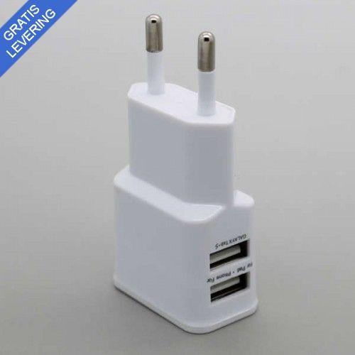 Dobbelt USB oplader - Hvid