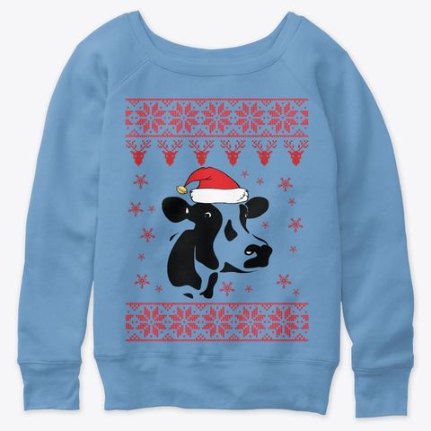 Cow Ugly Christmas Sweater Blue Triblend T Shirt Front Funny Ugly