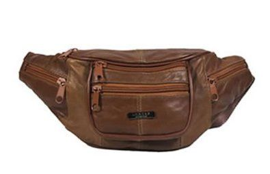 Lorenz Genuine Traditional All Soft Leather Bum Bag With 6 Zips