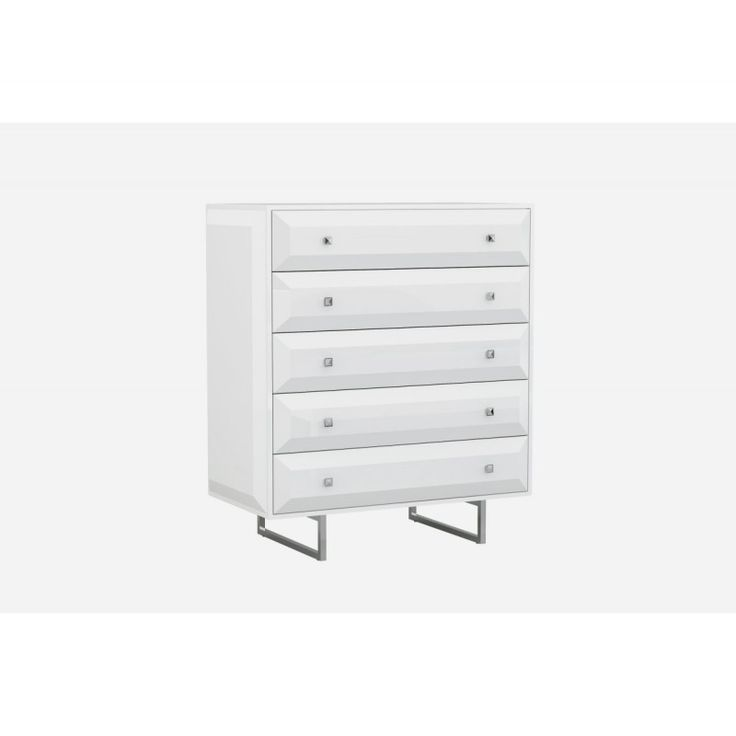 Glossy Modern White Chest of Drawers https://www.studio9furniture.com/bedroom/dressers-and-nightstands/abrazo-white-chest-of-drawers  With five self close white drawers with geometric design, this chest is great to be mixed with any colored furniture.