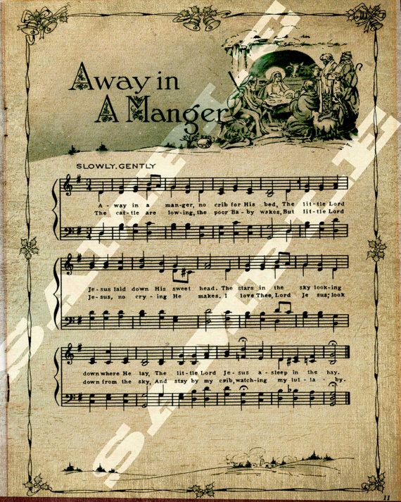 Away in a Manger Christmas Holiday Religious Sheet Music Printable Download Tag Sign 8x10