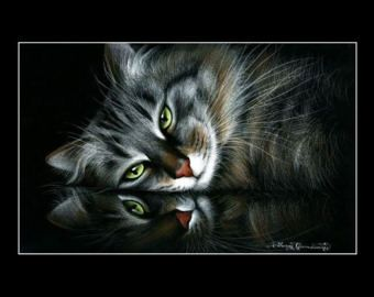 Cyperse kat afdrukken reflecterende stemming door Irina Garmashova