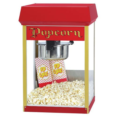 Gold Medal Products (2408) - 8 oz. Popcorn Popper.FunPop Popcorn Machine, 8 oz. E-Z Kleen removable stainless steel kettle, heated corn deck, tempered glass windows, twin arm kettle suspension, crumb tray, red dome, 1050 watts, 8.7 amps, NEMA 5-15P