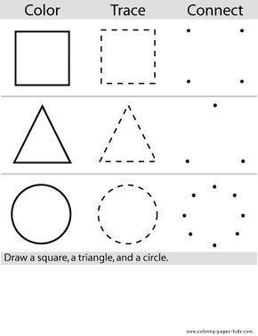 Shape color page, education school coloring pages, color plate ...