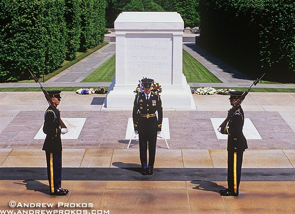Changing of the Guard at the Tomb of the Unknown Soldier, Arlington National Cemetery - http://andrewprokos.com