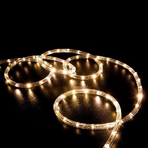 """WYZworks 150' feet Warm White 3/8"""" LED Rope Lights - Crystal Clear PVC Tube IP65 Water Resistant Flexible 2 Wire Accent Holiday Christmas Party Decoration Lighting * Details can be found at"""