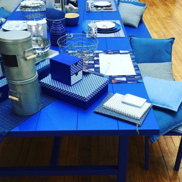 Salle à manger aux coloris bleus, Blue dining room