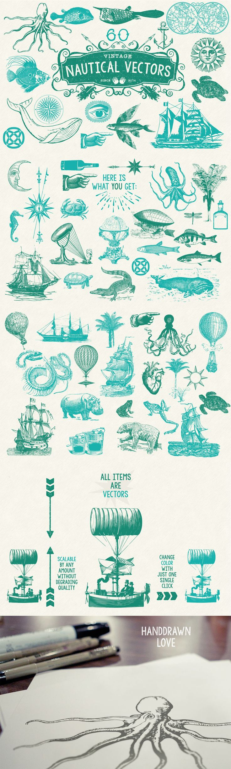 60 Vintage Nautical Vectors by MouseMade   The Comprehensive, Creative Vectors Bundle Mar 2015 from Design Cuts