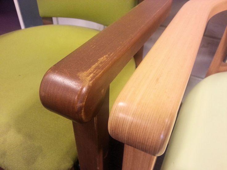 Houten stoelframes aan een opknapbeurt toe? Voor restyling van houten stoelen en tafels moet u bij Vision Furniture zijn. Ontlakken, opnieuw beitsen of dekkende herlakken: www.visionfurniture.nl  071-5226060