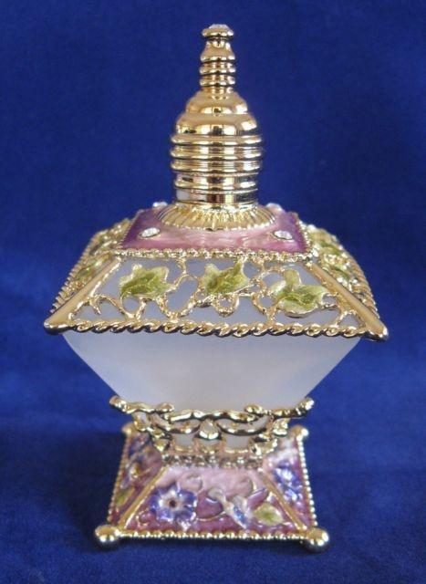 Perfume Bottle Flowers Square Frosted Glass Enamel Czech Crystals Purple NEW | eBay                                                                                                                                                                                 Más