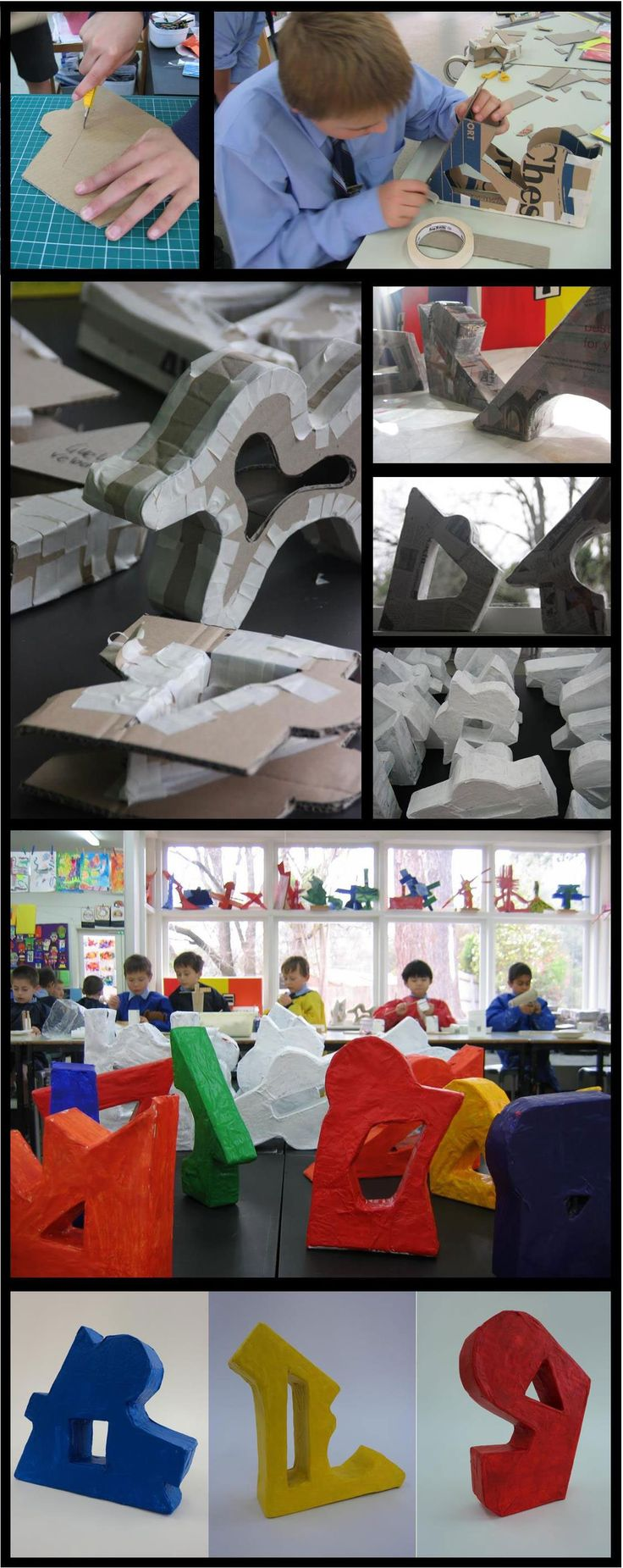 Fun kid project (or crafty adult). Three-dimensional designs using recycled cardboard, masking tape and reused newspaper. This post shows the 5th graders doing the entire project themselves (supervision with the craft knife of course).