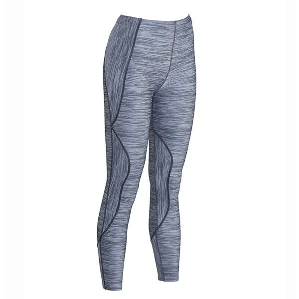 CW-X TraXter Compression Tights in Heather Grey Print. These women's tights offer dynamic compression and are designed for natural body motion.