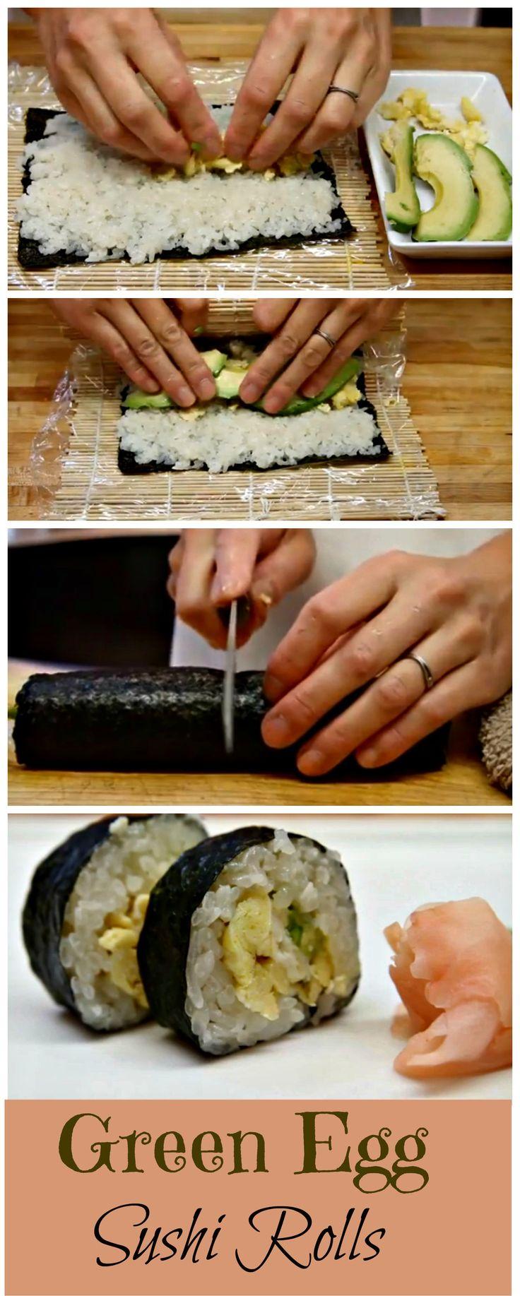 Green Egg Sushi Rolls http://www.ifood.tv/recipe/how-to-make-sushi-green-egg-sushi-rolls
