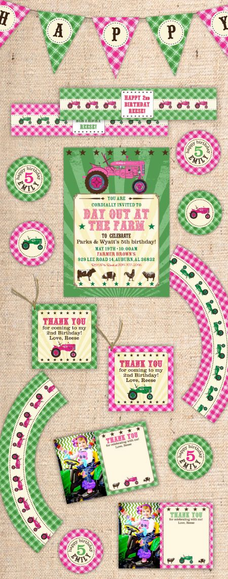printable horse birthday party invitations free%0A DIY Tractor Farm Party Printables are perfect for Farm Theme Birthday Party  or Tractor Theme Birthday