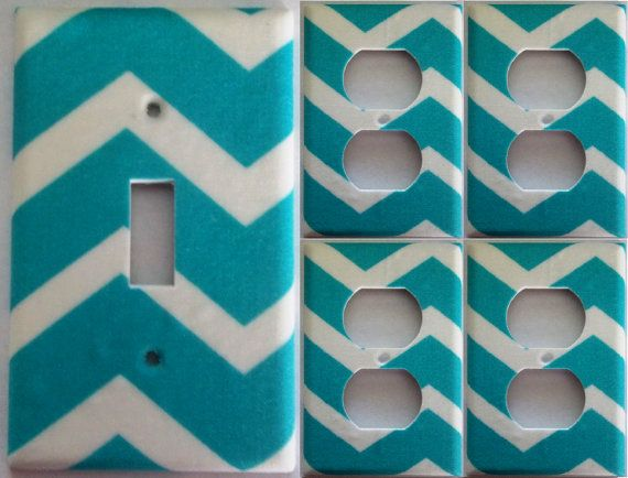 Teal Chevron Girls bedroom bathroom wall decor light switch plate cover outlet sets Housewares