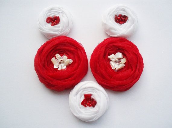 Red & White Roses Handmade Appliques by BizimSupplies on Etsy