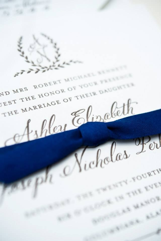 reply to wedding invitation m%0A Blue and white wedding invitation  M  Elizabeth Events