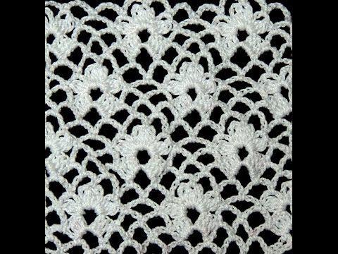 Delicado punto en Crochet con foma de enrejado y flores.  Parte 1 de 2