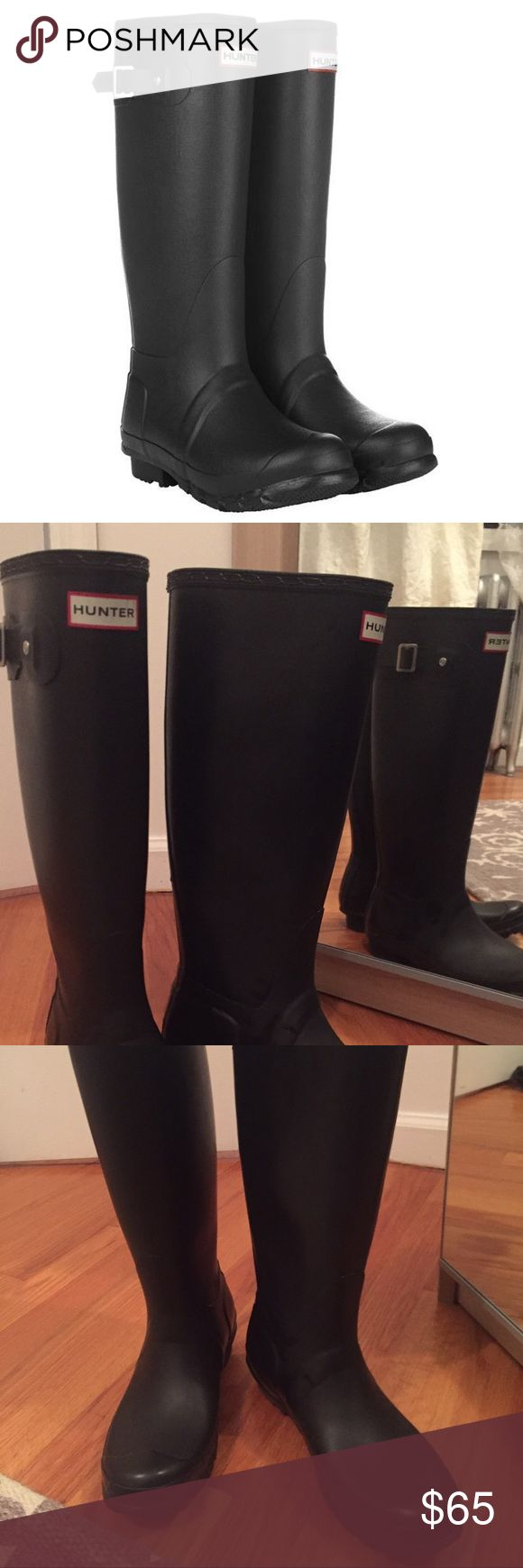 """Hunter Wellington Black Tall Rain Boots, size 6 Fantastic condition! They have been worn 5-10 times, and show minimal signs of wear. The outer rubber shows no defects. The inner fabric lining has small patches of dye transfer from jeans running against (pictured). They are size 6, but run large. I am able to wear 2 pairs of socks comfortably in cold weather. 16"""" high, 15"""" circum.  **NOTE: If purchased by end of business day 10/12, I will ship immediately. If purchased after end of day 10/12…"""