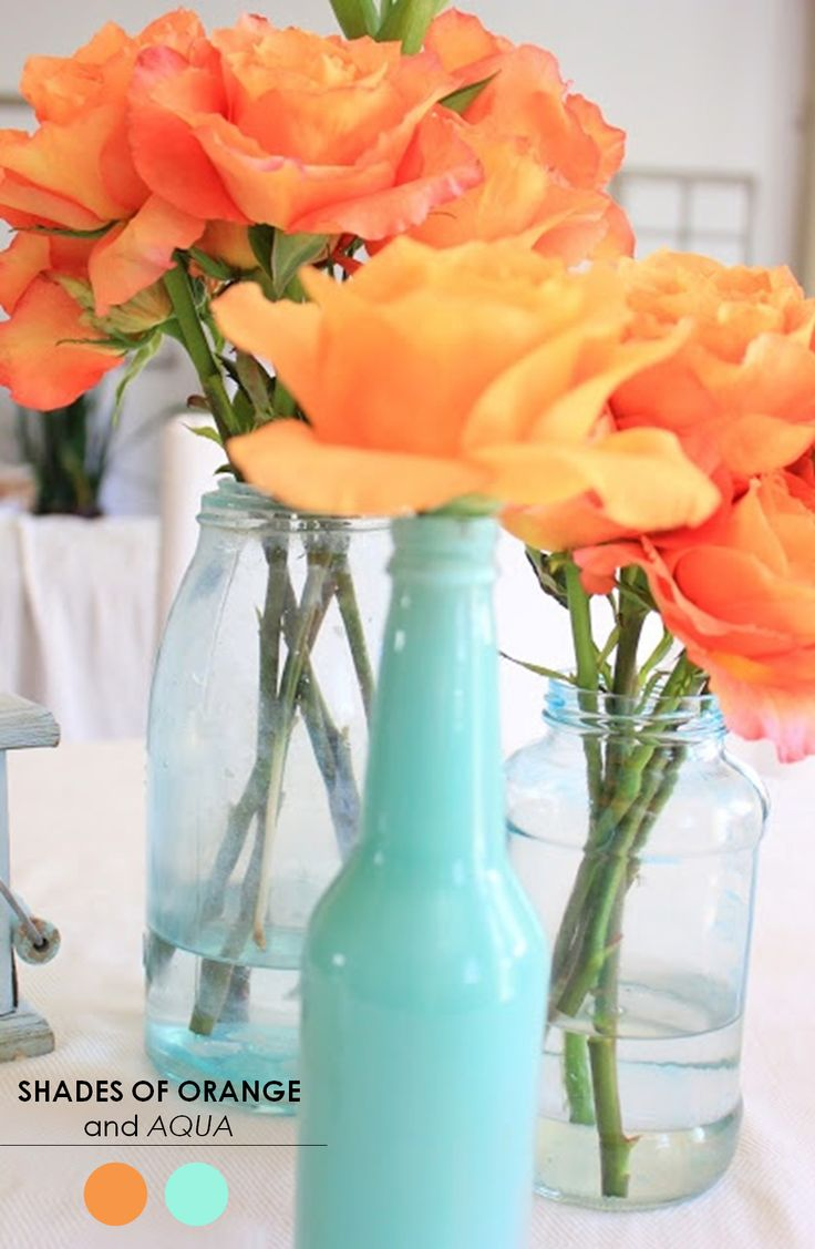 Orange & Aqua http://www.theperfectpalette.com/2013/11/10-wedding-color-palettes-you-need-to.html