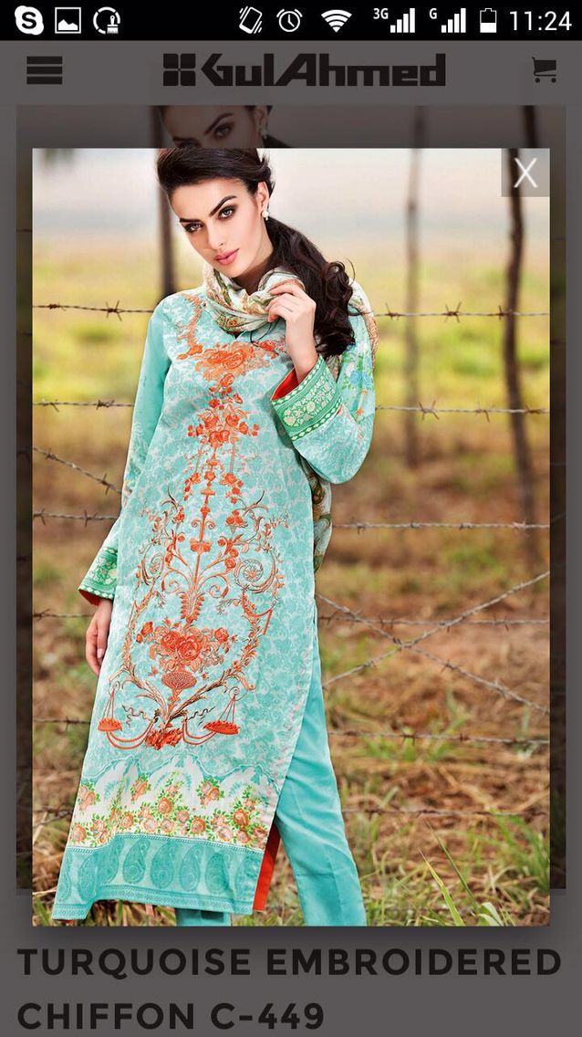 Gul Ahmad Festive New collection - chiffon 2016