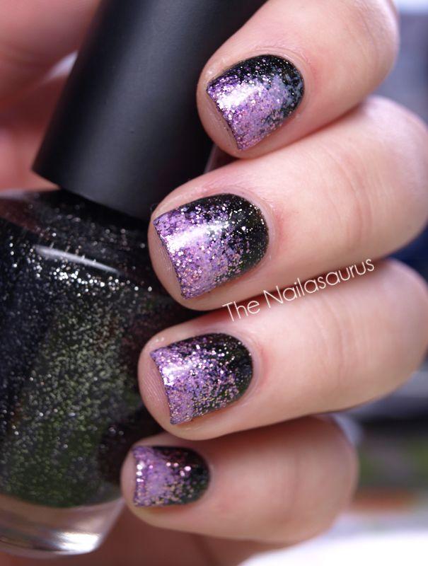sparkle nails!Nails Art, Black Nails, Glitter Nails, Sparkle Nails, Purple Nails, Gradient Nails, Nails Polish, Sparkly Nails, Galaxies Nails