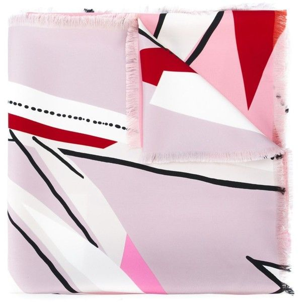 Fendi abstract print scarf (27.980 RUB) ❤ liked on Polyvore featuring accessories, scarves, colorful shawl, multi colored scarves, colorful scarves, print scarves and silk scarves