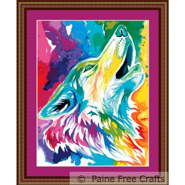 Paine Free Crafts Colorful Wolf-watercolor