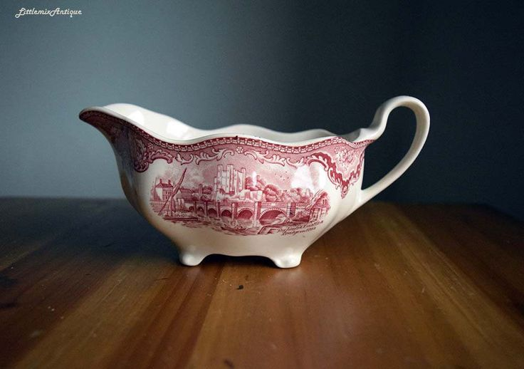 Vintage Johnson Bros Made in England English Castles Series 'Rochester Castles Bridge in 1792' Retro Pink Transferware Footed Gravy Boat by LittlemixAntique on Etsy