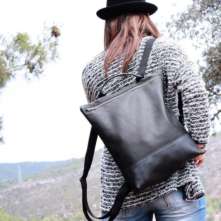 Leather Backpack black, backpack woman, craft leather backpack, travel sac, black leather backpack, big backpack, biggest,  Handmade Bcn by Nubuckcuir on Etsy https://www.etsy.com/listing/254922158/leather-backpack-black-backpack-woman