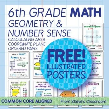 Bring geometry and number sense to life with these big, easy-to-use posters. The illustrations help students understand mathematical concepts and procedures like finding area, the coordinate plane, ordered pairs, and plotting shapes. The large size makes them easy to see and well suited to projecting onto the screen.