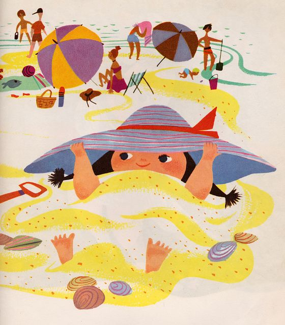 """Beach scene -- Mary Blair's illustration for the Little Golden Book """"I Can Fly"""" (1951)"""