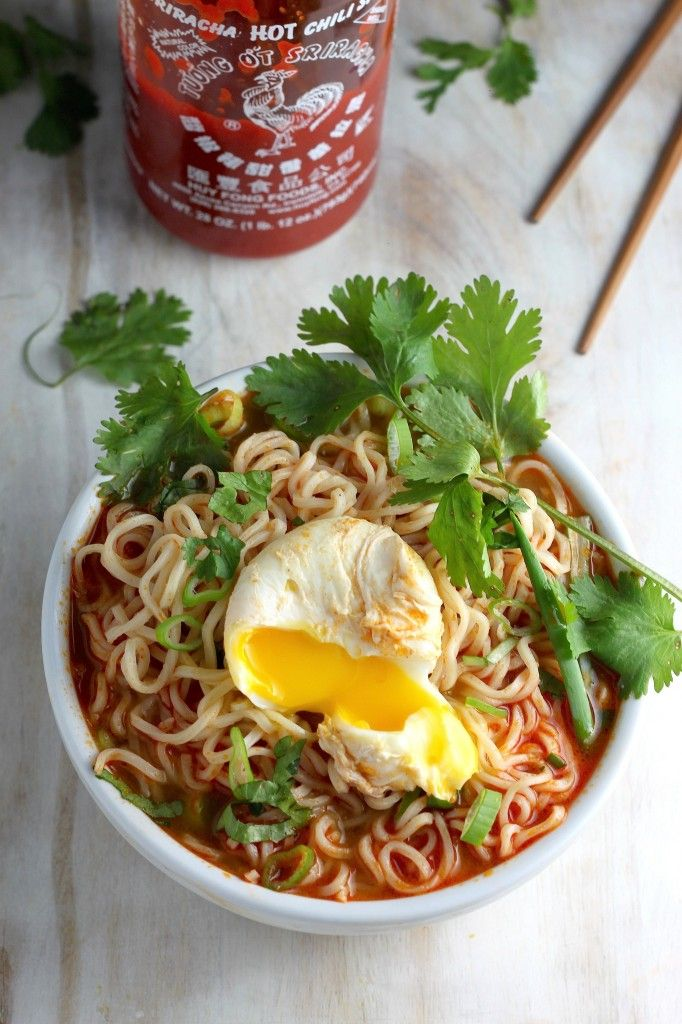 20-Minute Spicy Sriracha Ramen Noodle Soup - crack raw egg onto seran wrap,gather ends and dip into boiling water for a few minutes to get the round egg perfectly cooked.